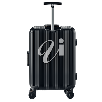 Luggage on wheels black, back view. 3D graphic object isolated on white background