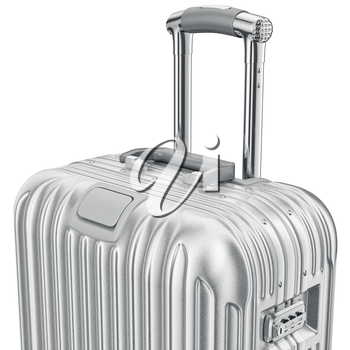 Silver luggage, zoomed view. 3D graphic object on white background