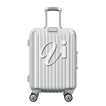 Silver suitcase for travel, front view. 3D graphic object isolated on white background