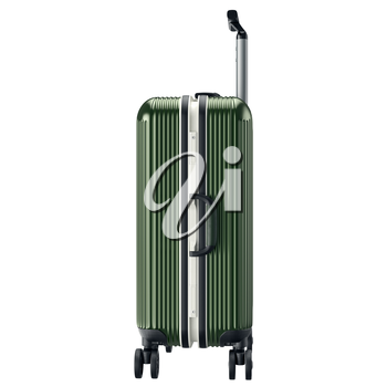 Metal luggage green, side view. 3D graphic object isolated on white background