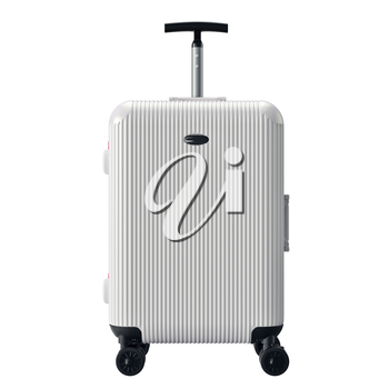 White luggage for travel, front view. 3D graphic object isolated on white background