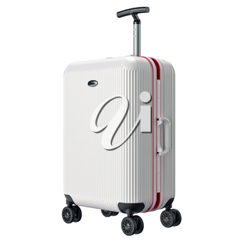 White travel large luggage. 3D graphic object isolated on white background
