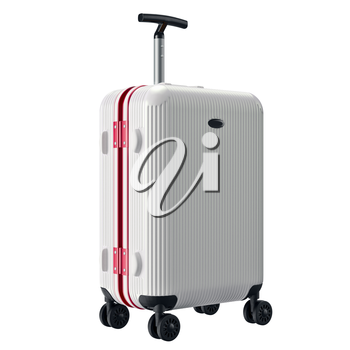 Big white luggage. 3D graphic object isolated on white background