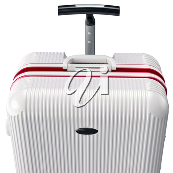 Luggage white for travel, close view. 3D graphic object on white background