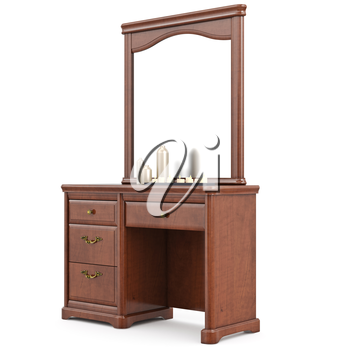 Dresser wooden with mirror. 3D graphic isolated object on white background