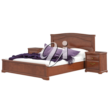 Classic style wooden bed. 3D graphic isolated object on white background