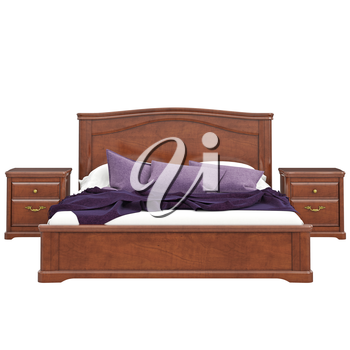 Bed of wood, front view. 3D graphic isolated object on white background