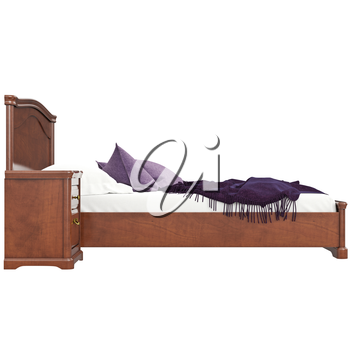 Bed with pillows, side view. 3D graphic isolated object on white background