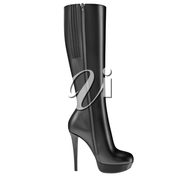 Women's boot black leather high heel, side view. 3D graphic