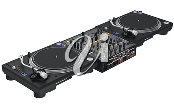 Professional table dj equipment mixer with vinyl player. 3D graphic