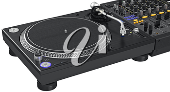 Black dj mixer turntable with large ice-screen glowing buttons, close view. 3D graphic