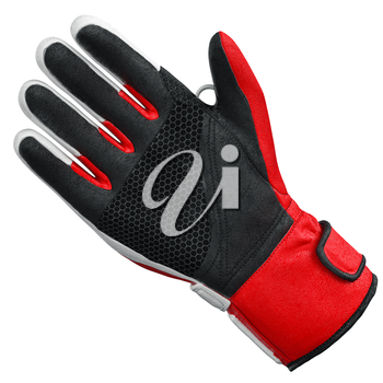 Ski sports glove one isolated on white background, front view. 3D graphic