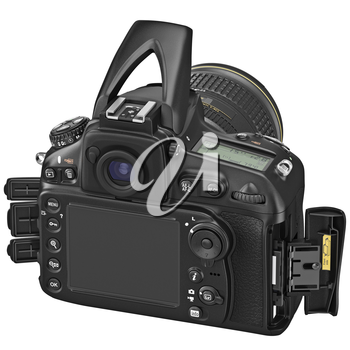 Camera with large LCD display, lids open, open flash. 3D graphic
