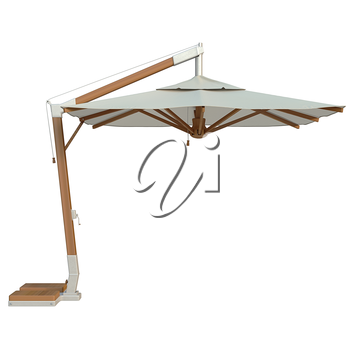 Square modern beach umbrella for relax, side view. 3D graphic