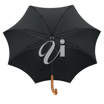 Black classic rain umbrella open with wooden handle. 3D graphic