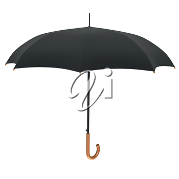 Classic umbrella open with wooden handle, front view. 3D graphic