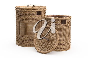 Empty wicker baskets decorative on white background. 3D graphic