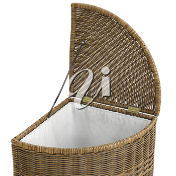 Closeup wicker basket on white background. 3D graphic