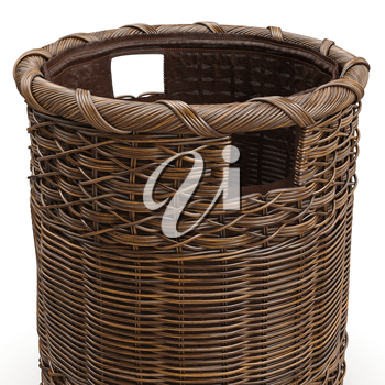 Empty wicker big basket on white background, close view. 3D graphic