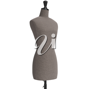 Female mannequin with stand retro style, close view. 3D graphic
