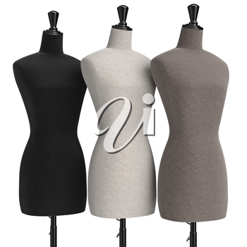 Female mannequins with stand retro style. 3D graphic