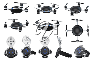 Flying automatic drone. 3D graphic object isolated on white background