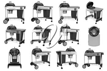 Collection grill with cart on wheels. 3D graphic