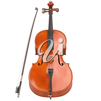 Cello brown classic wooden bow retro style. 3D graphic