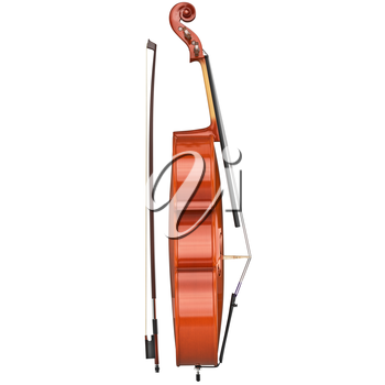 Classic cello string musical equipment, side view. 3D graphic