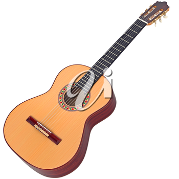 Classical Spanish guitar wooden with nylon strings. 3D graphic
