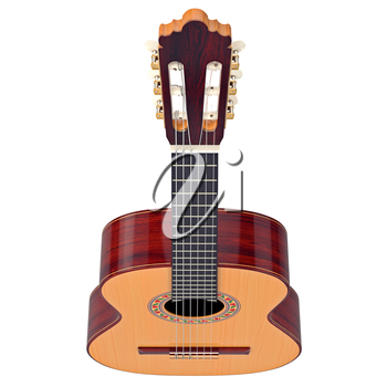 Fingerboard classical guitar with tuning-pegs, top view. 3D graphic