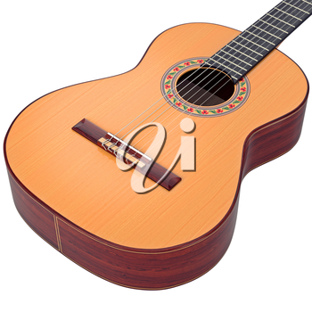Brown body spanish acoustic guitar, zoomed view. 3D graphic