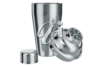 Cocktail shaker with metal strainer, open view. 3D graphic