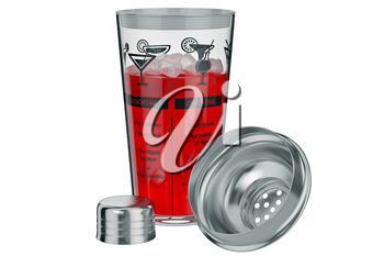 Cocktail shaker glass with ice liquid inside, open view. 3D graphic