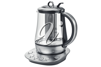 Electric kettle aluminum with glass on stand. 3D graphic