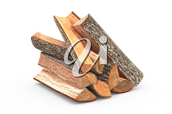 Firewood stack dry chopped, close view, objects. 3D graphic