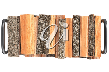Firewood stack brown bark on metal rack, top view. 3D graphic