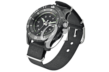 Wrist watch military with textile strap. 3D graphic