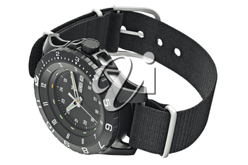 Watch military black with chrome elements. 3D graphic