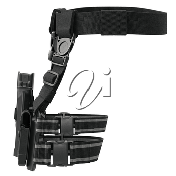 Holster army plastic on belt for gun, front view. 3D graphic