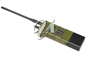 Military radio khaki army digital technology. 3D graphic