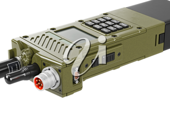 Military radio digital device with display and buttons, close view. 3D graphic