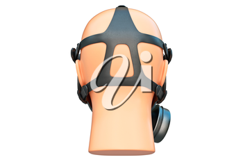 Safety pro mask on mannequin equipment, back view. 3D graphic
