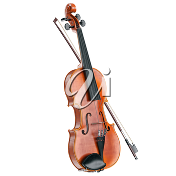 Violin classical stringed wooden musical instrument. 3D graphic