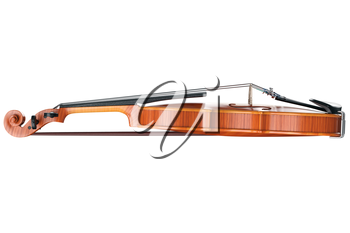 Violin classical stringed musical equipment, side view. 3D graphic