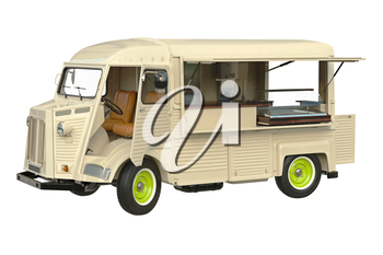 Food car beige eatery with open doors. 3D graphic