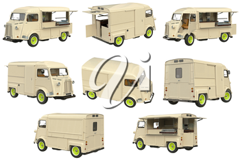 Food truck eatery cafe on wheels set. 3D graphic