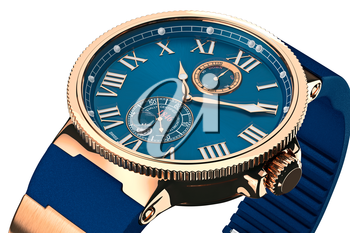 Wrist watch modern mechanical gold dial, close view. 3D graphic