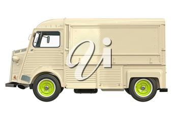 Food car retro style, side view. 3D graphic