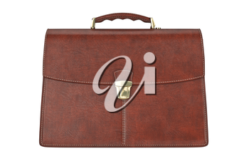 Classic leather briefcase vintage, front view. 3D graphic